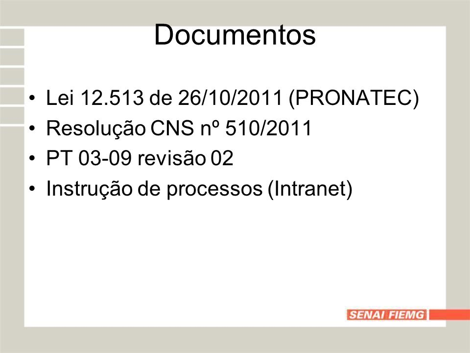 Documentos Lei 12.513 de 26/10/2011 (PRONATEC)