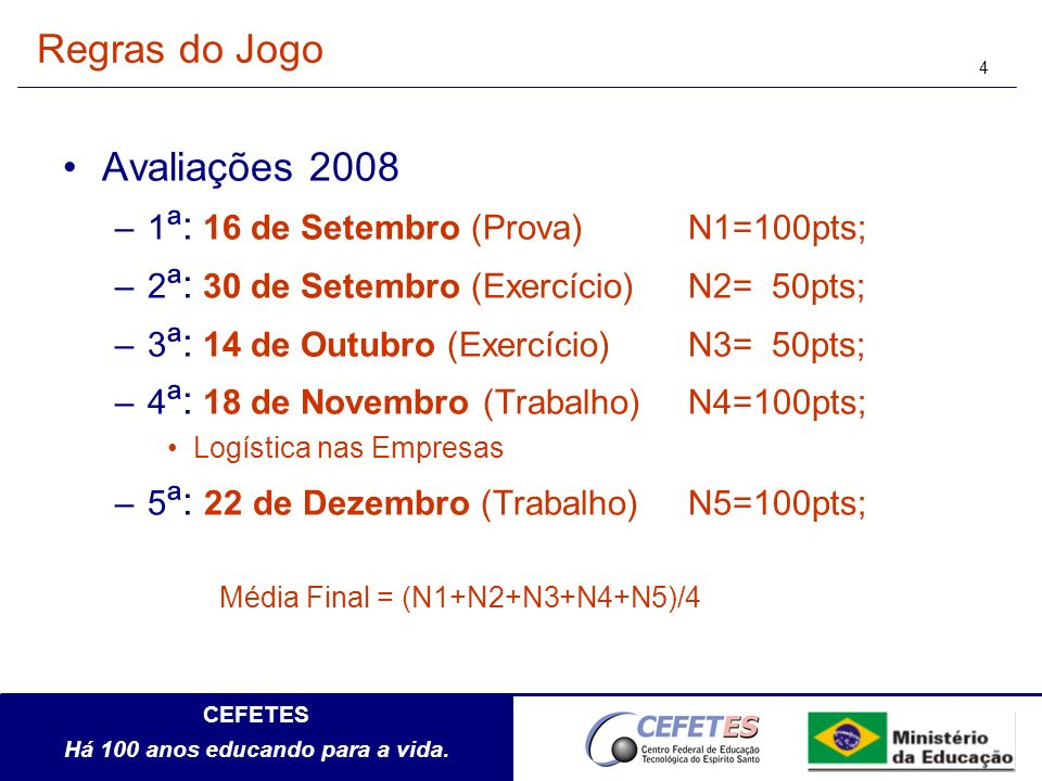 Regras do Jogo Avaliações 2008 1ª: 16 de Setembro (Prova) N1=100pts;