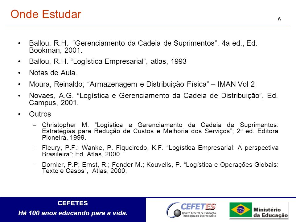 Onde Estudar Ballou, R.H. Gerenciamento da Cadeia de Suprimentos , 4a ed., Ed. Bookman, 2001. Ballou, R.H. Logística Empresarial , atlas, 1993.