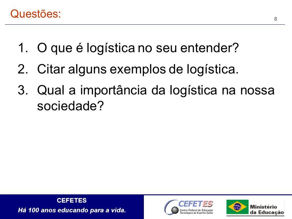 O que é logística no seu entender Citar alguns exemplos de logística.