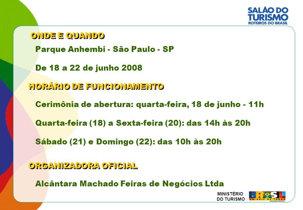 ONDE E QUANDO Parque Anhembi - São Paulo - SP. De 18 a 22 de junho 2008. HORÁRIO DE FUNCIONAMENTO.