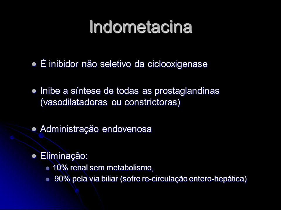 Indometacina É inibidor não seletivo da ciclooxigenase