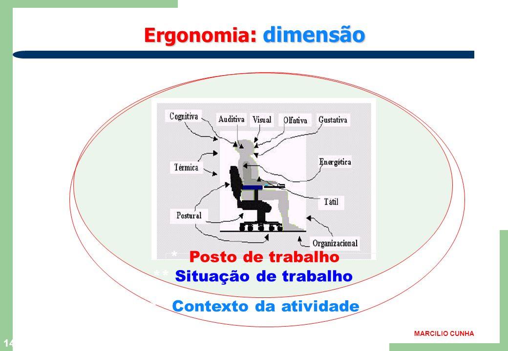 Ergonomia: dimensão * Posto de trabalho ** Situação de trabalho