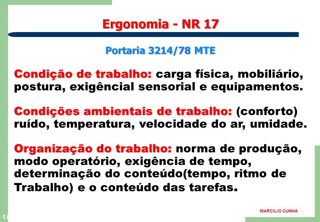 Ergonomia - NR 17 Portaria 3214/78 MTE