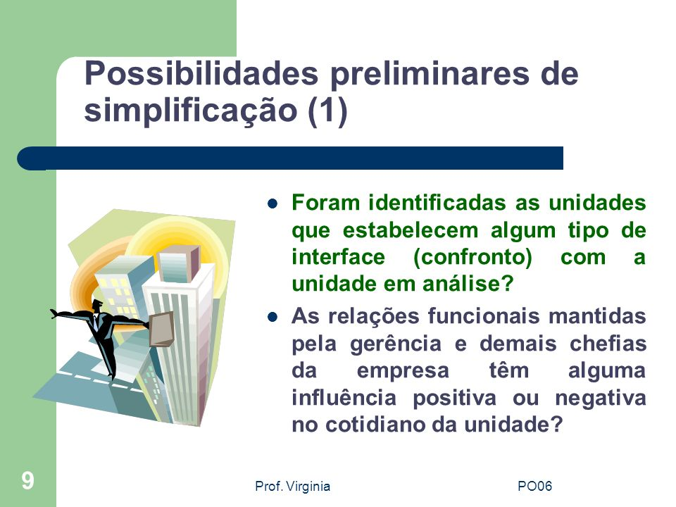 Possibilidades preliminares de simplificação (1)