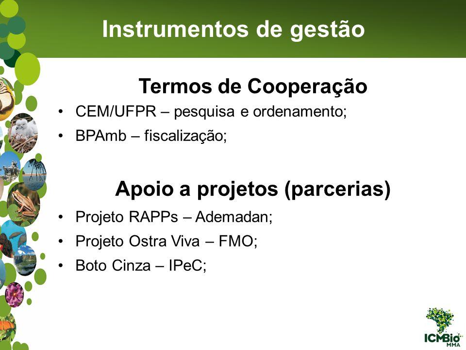 Instrumentos de gestão Apoio a projetos (parcerias)