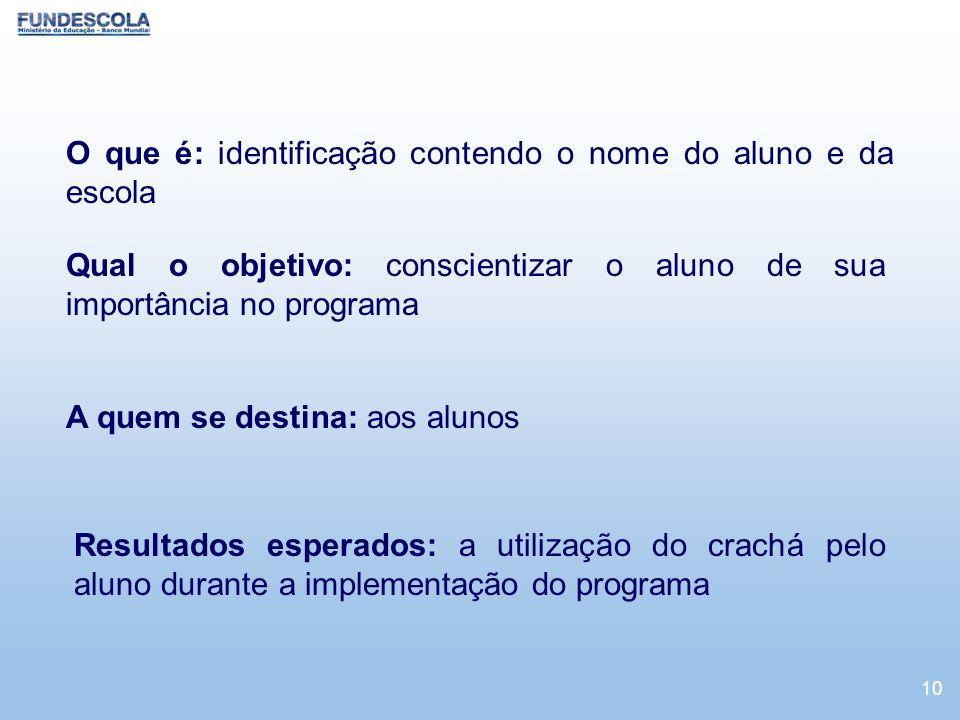 O que é: identificação contendo o nome do aluno e da escola