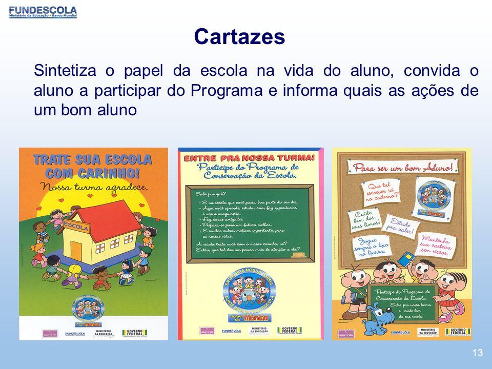 CartazesSintetiza o papel da escola na vida do aluno, convida o aluno a participar do Programa e informa quais as ações de um bom aluno.