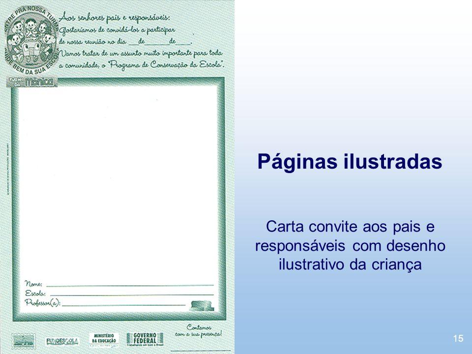 Páginas ilustradas Carta convite aos pais e responsáveis com desenho ilustrativo da criança