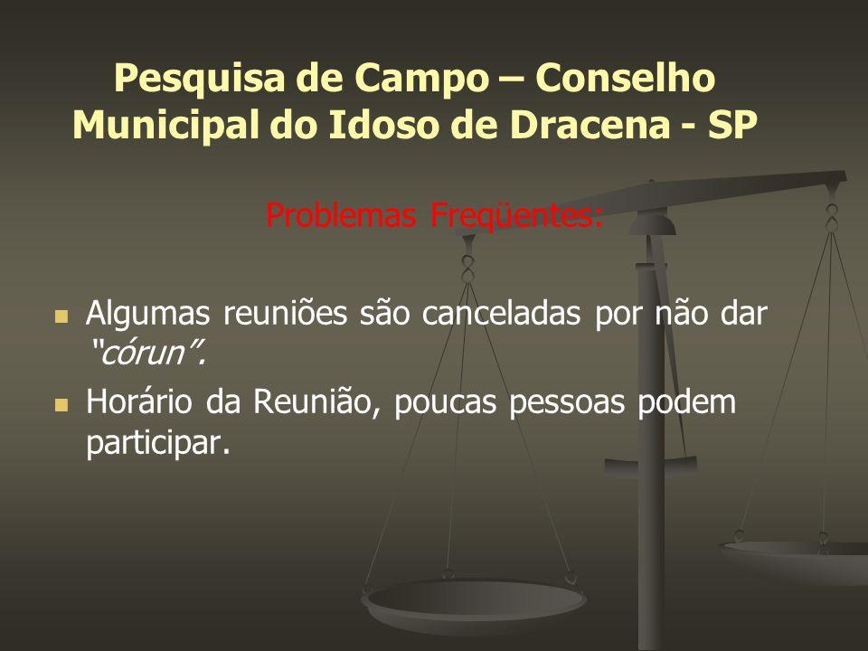 Pesquisa de Campo – Conselho Municipal do Idoso de Dracena - SP