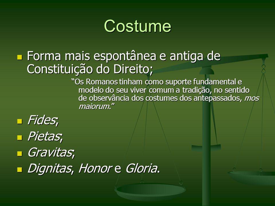 Costume Forma mais espontânea e antiga de Constituição do Direito;