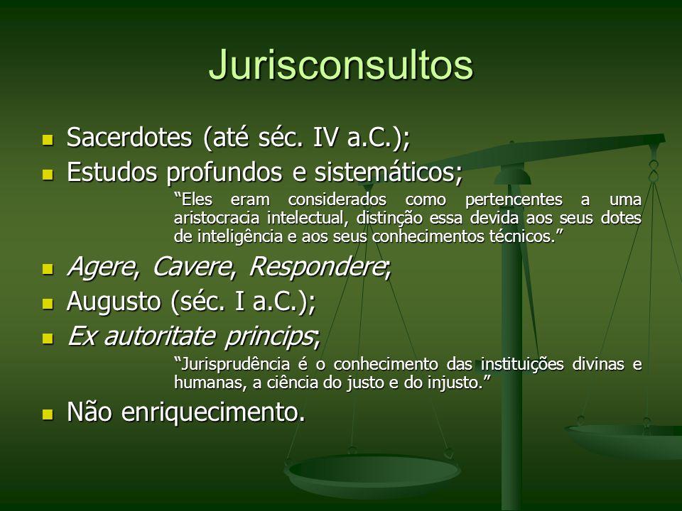 Jurisconsultos Sacerdotes (até séc. IV a.C.);