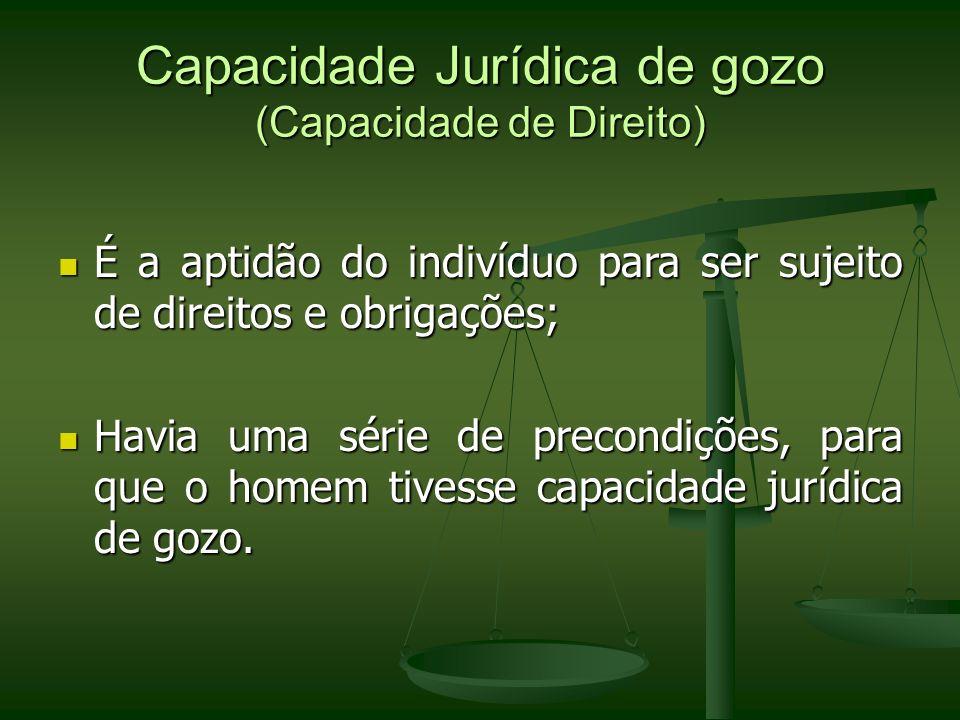 Capacidade Jurídica de gozo (Capacidade de Direito)