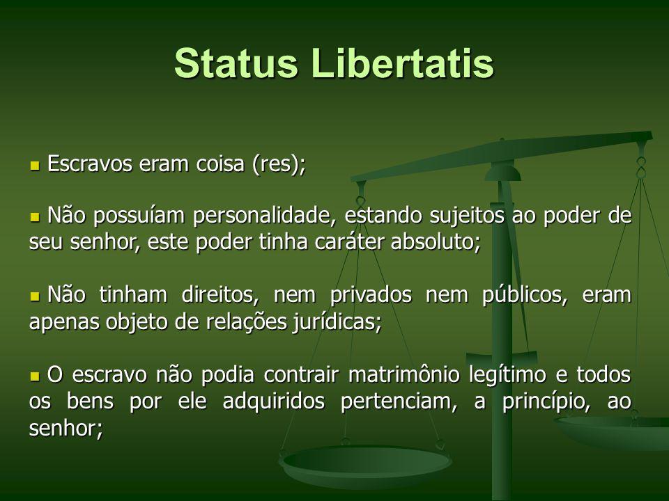 Status Libertatis Escravos eram coisa (res);