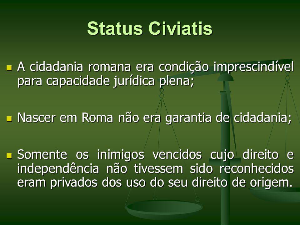 Status Civiatis A cidadania romana era condição imprescindível para capacidade jurídica plena; Nascer em Roma não era garantia de cidadania;