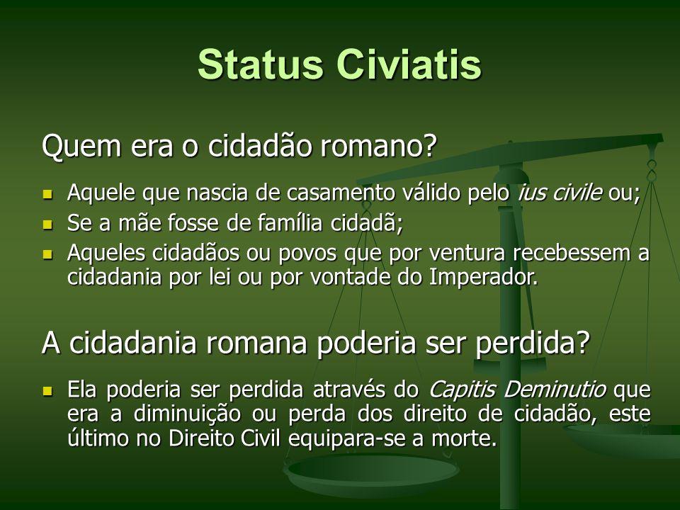 Status Civiatis Quem era o cidadão romano