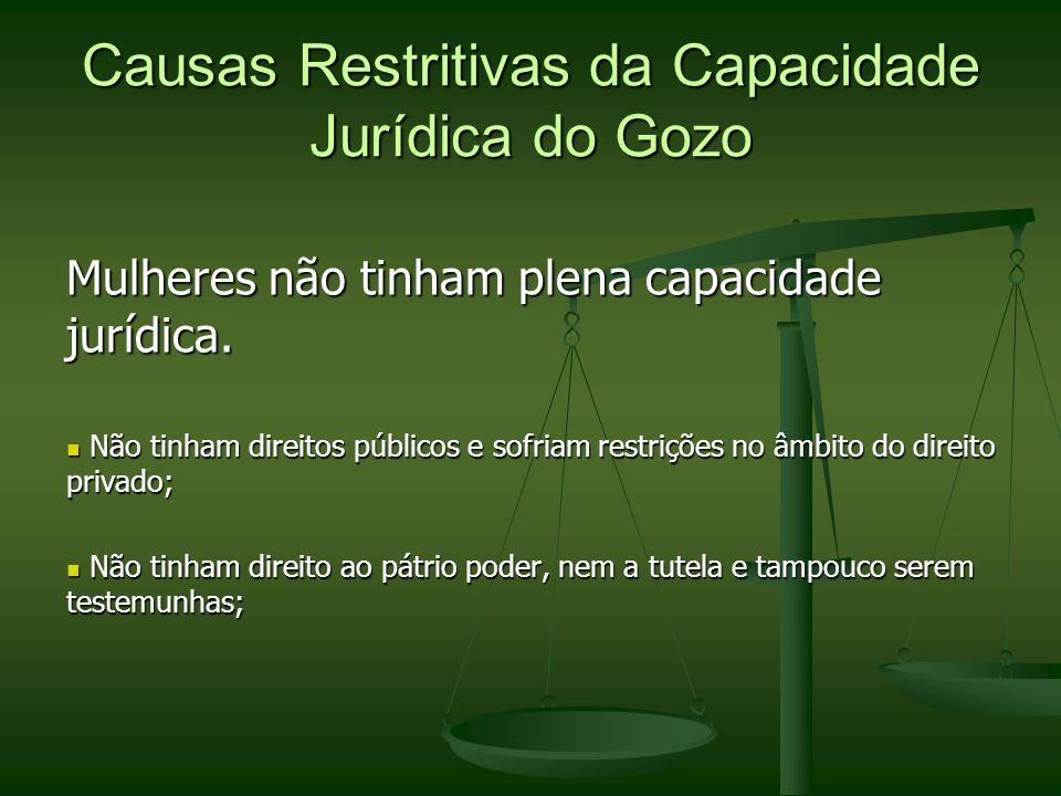 Causas Restritivas da Capacidade Jurídica do Gozo