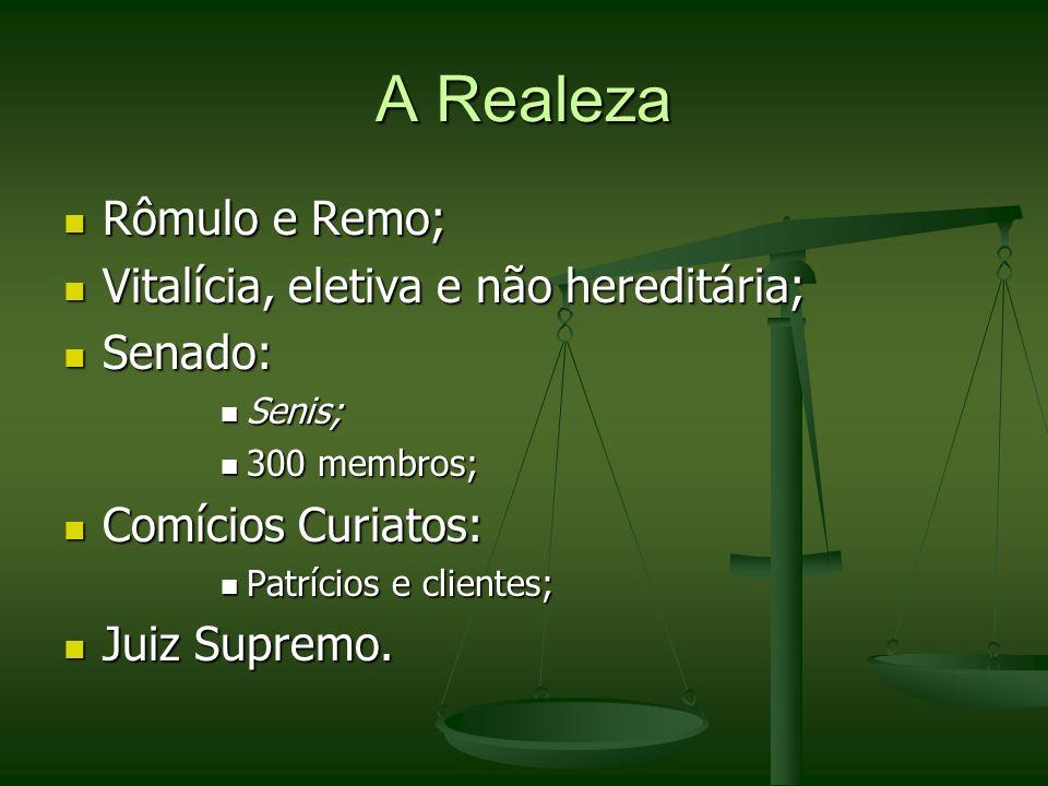 A Realeza Rômulo e Remo; Vitalícia, eletiva e não hereditária; Senado: