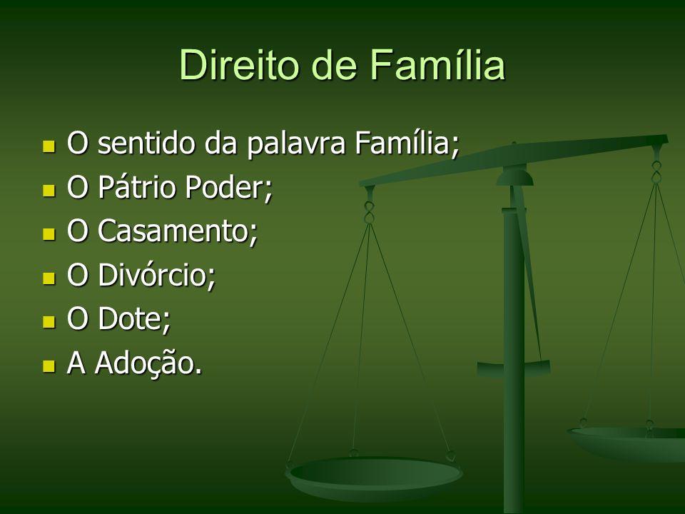 Direito de Família O sentido da palavra Família; O Pátrio Poder;