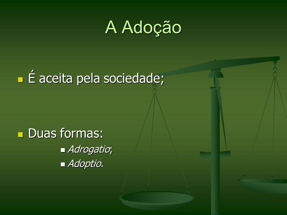 A Adoção É aceita pela sociedade; Duas formas: Adrogatio; Adoptio.