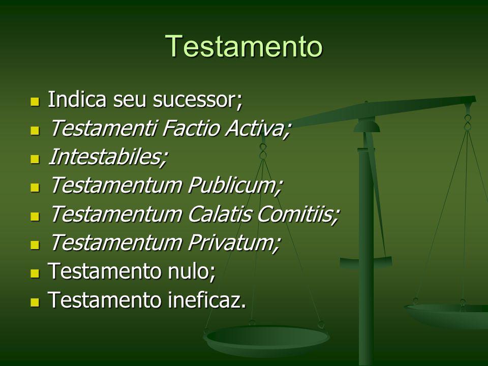 Testamento Indica seu sucessor; Testamenti Factio Activa;