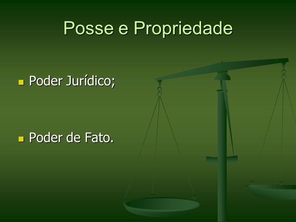 Posse e Propriedade Poder Jurídico; Poder de Fato.
