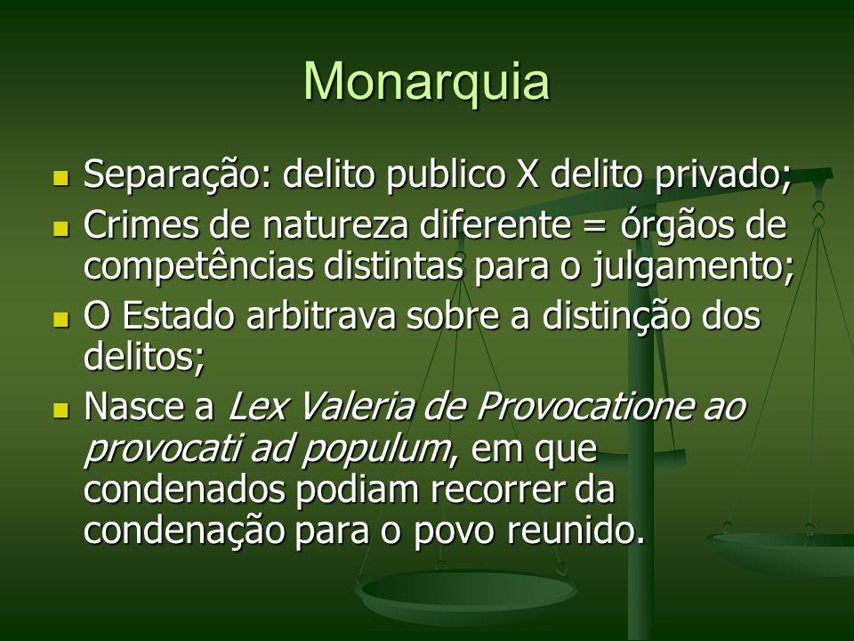 Monarquia Separação: delito publico X delito privado;