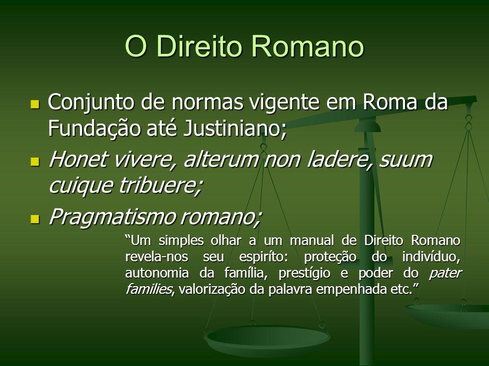 O Direito Romano Conjunto de normas vigente em Roma da Fundação até Justiniano; Honet vivere, alterum non ladere, suum cuique tribuere;