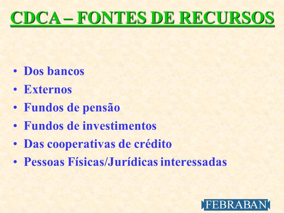 CDCA – FONTES DE RECURSOS