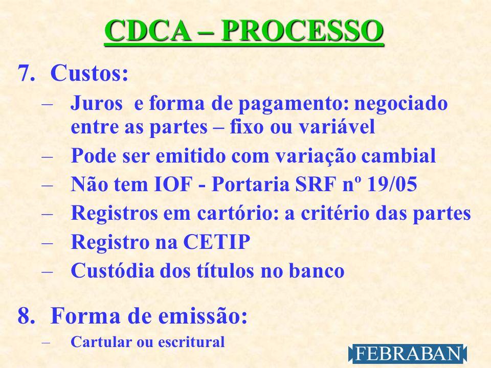 CDCA – PROCESSO 7. Custos: 8. Forma de emissão: