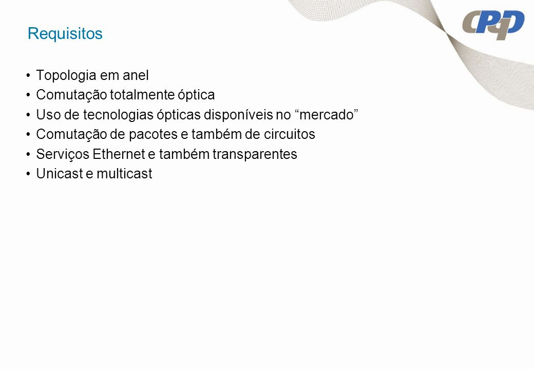 Requisitos Topologia em anel Comutação totalmente óptica