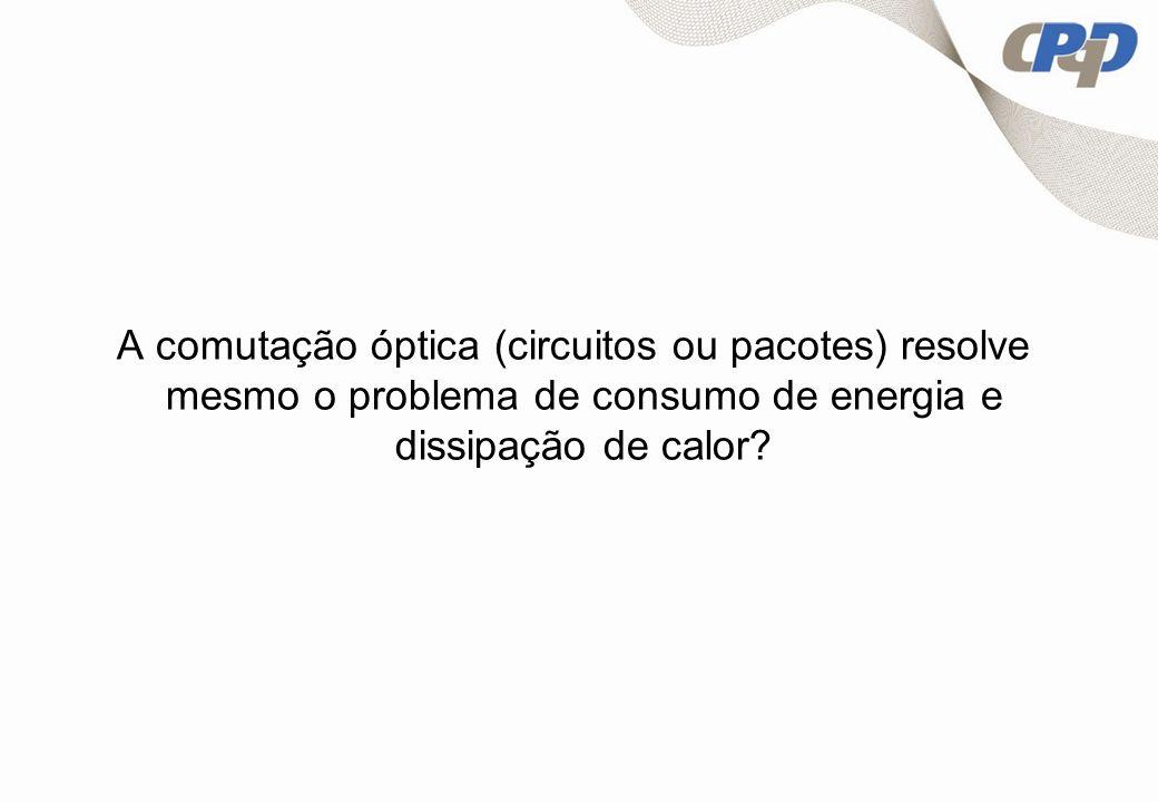 A comutação óptica (circuitos ou pacotes) resolve mesmo o problema de consumo de energia e dissipação de calor