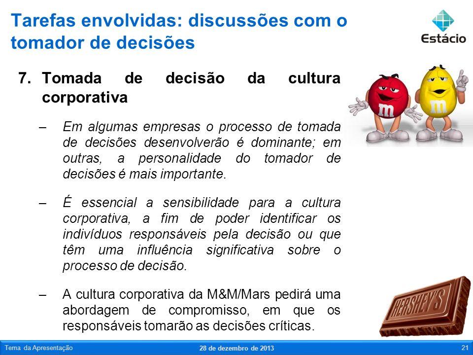 Tarefas envolvidas: discussões com o tomador de decisões