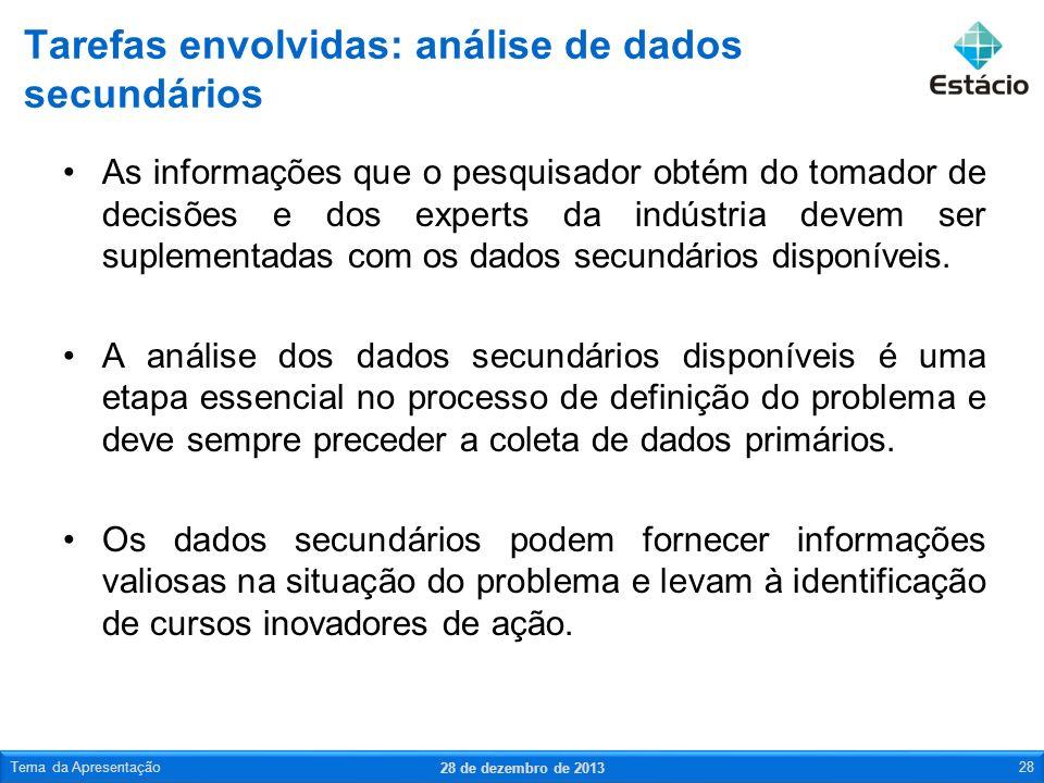 Tarefas envolvidas: análise de dados secundários