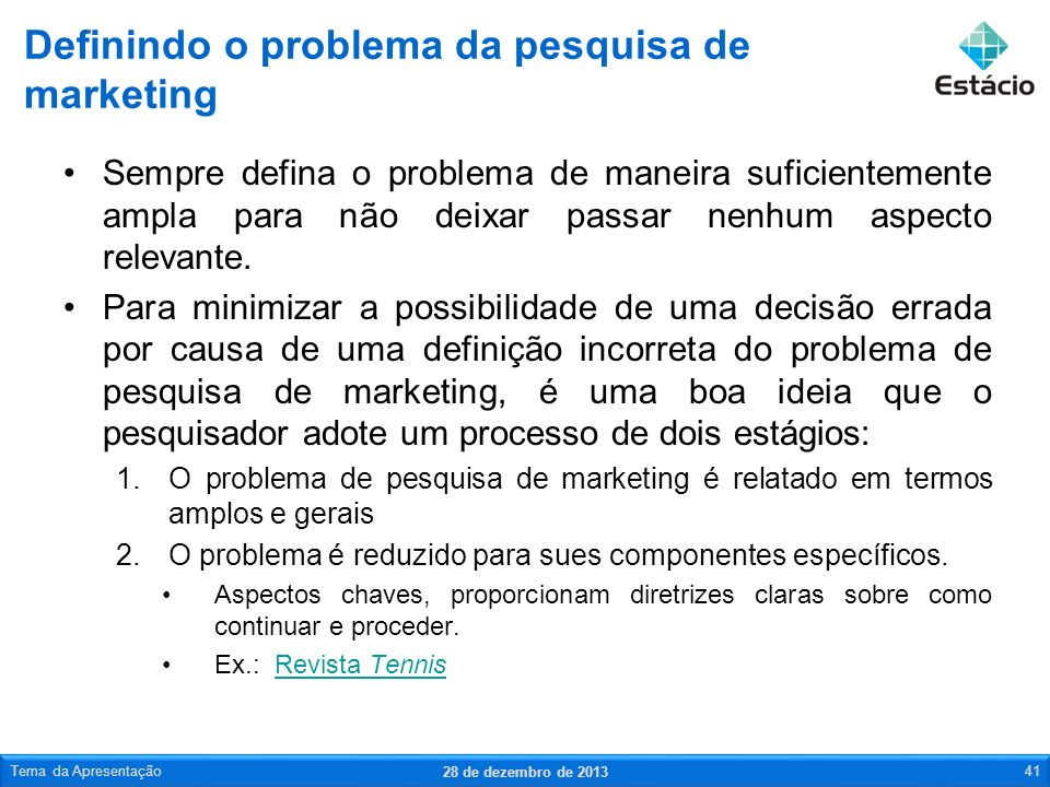 Definindo o problema da pesquisa de marketing