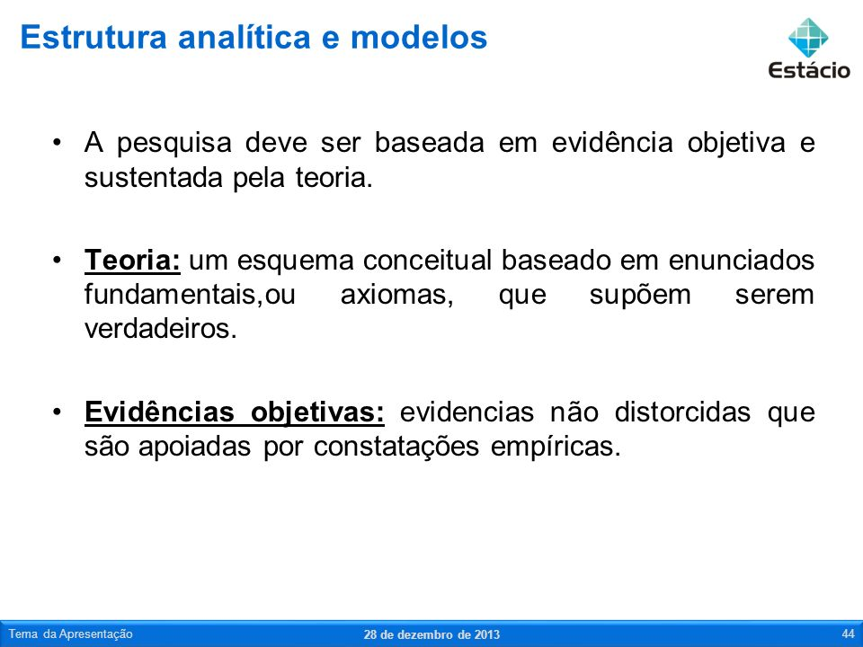 Estrutura analítica e modelos