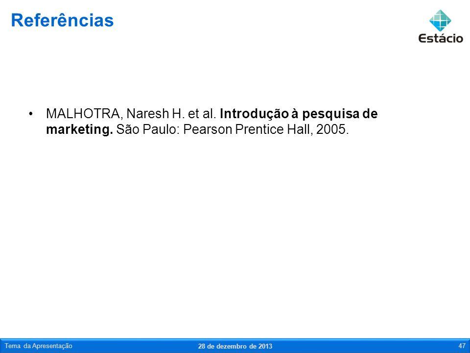 Referências MALHOTRA, Naresh H. et al. Introdução à pesquisa de marketing. São Paulo: Pearson Prentice Hall, 2005.