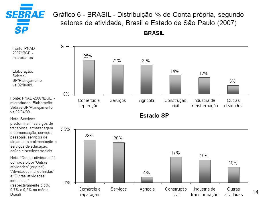 Gráfico 6 - BRASIL - Distribuição % de Conta própria, segundo setores de atividade, Brasil e Estado de São Paulo (2007)