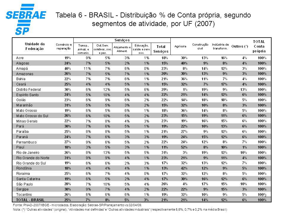 Tabela 6 - BRASIL - Distribuição % de Conta própria, segundo segmentos de atividade, por UF (2007)