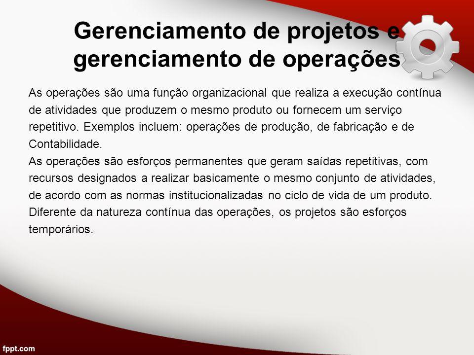 Gerenciamento de projetos e gerenciamento de operações