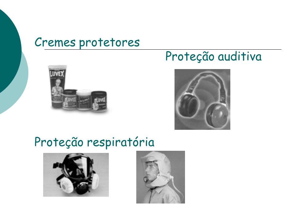 Cremes protetores Proteção auditiva Proteção respiratória