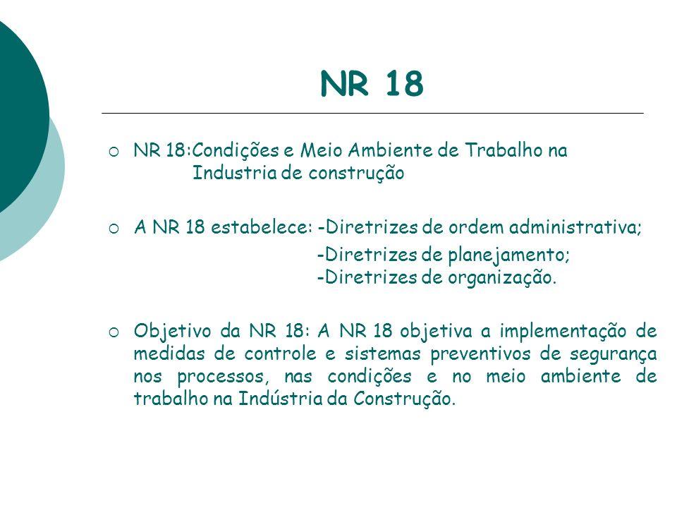 NR 18NR 18:Condições e Meio Ambiente de Trabalho na Industria de construção.