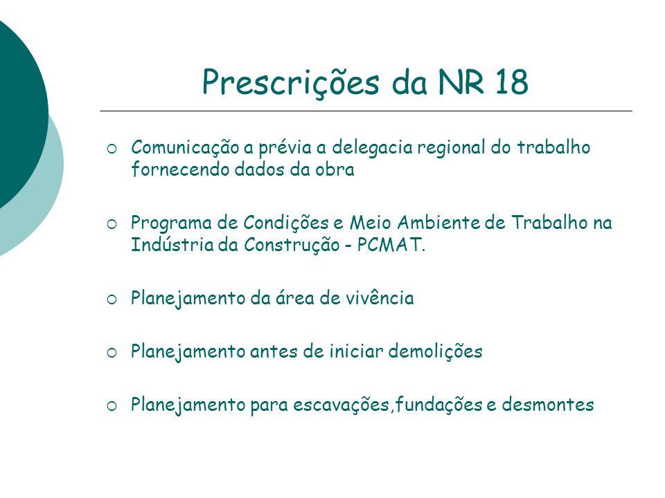 Prescrições da NR 18Comunicação a prévia a delegacia regional do trabalho fornecendo dados da obra.