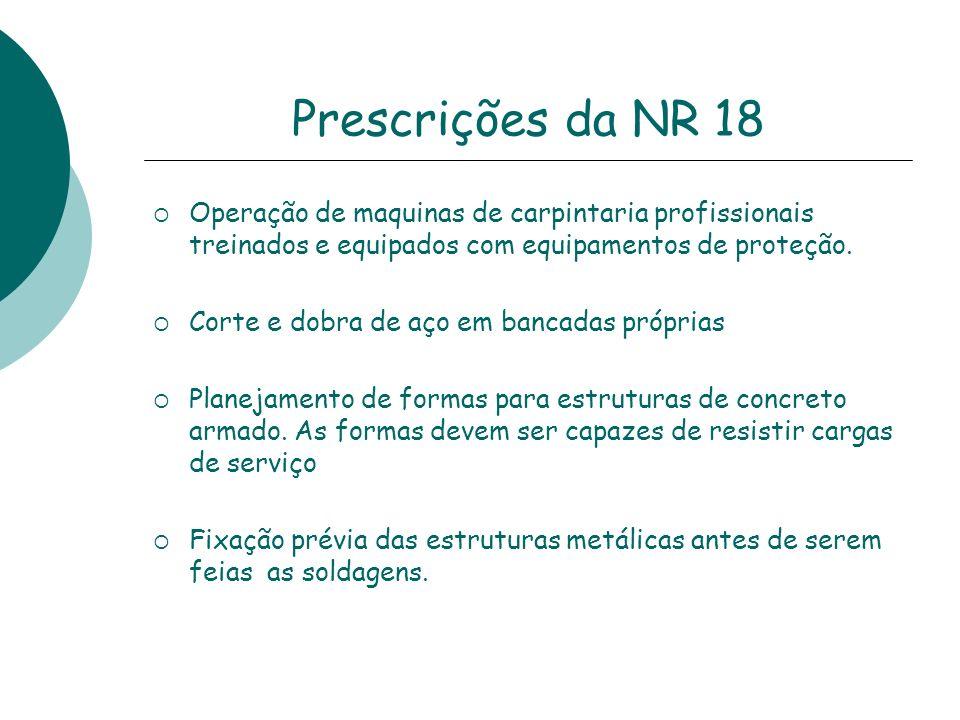 Prescrições da NR 18Operação de maquinas de carpintaria profissionais treinados e equipados com equipamentos de proteção.