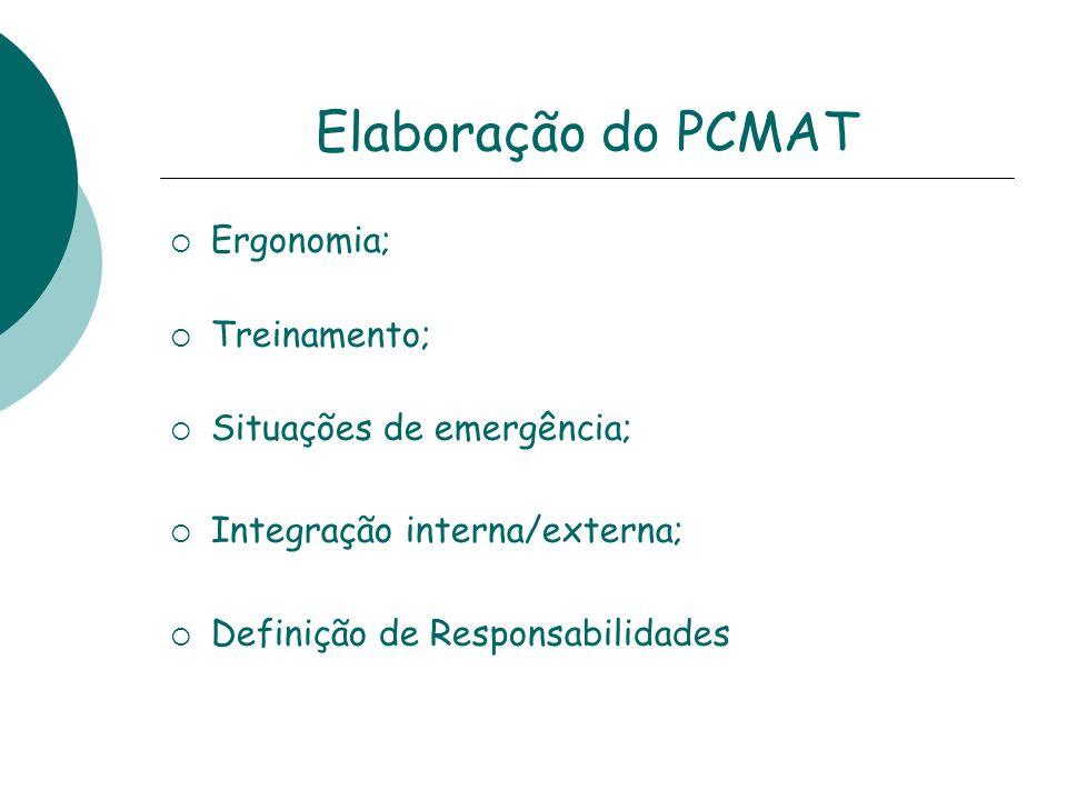 Elaboração do PCMAT Ergonomia; Treinamento; Situações de emergência;