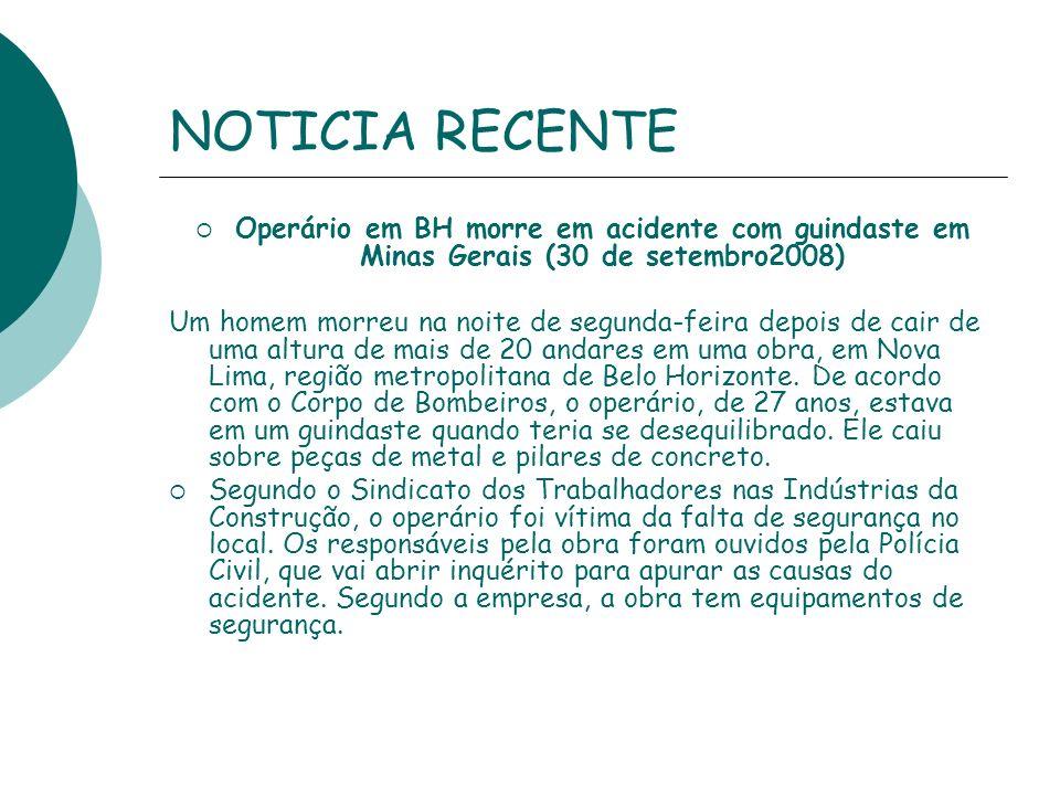 NOTICIA RECENTE Operário em BH morre em acidente com guindaste em Minas Gerais (30 de setembro2008)