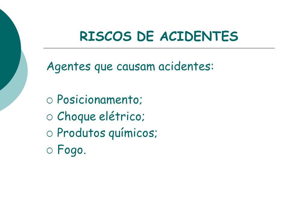 RISCOS DE ACIDENTES Agentes que causam acidentes: Posicionamento;