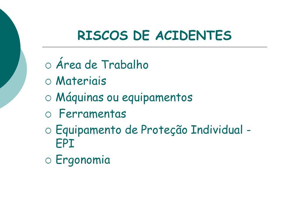 RISCOS DE ACIDENTES Área de Trabalho Materiais