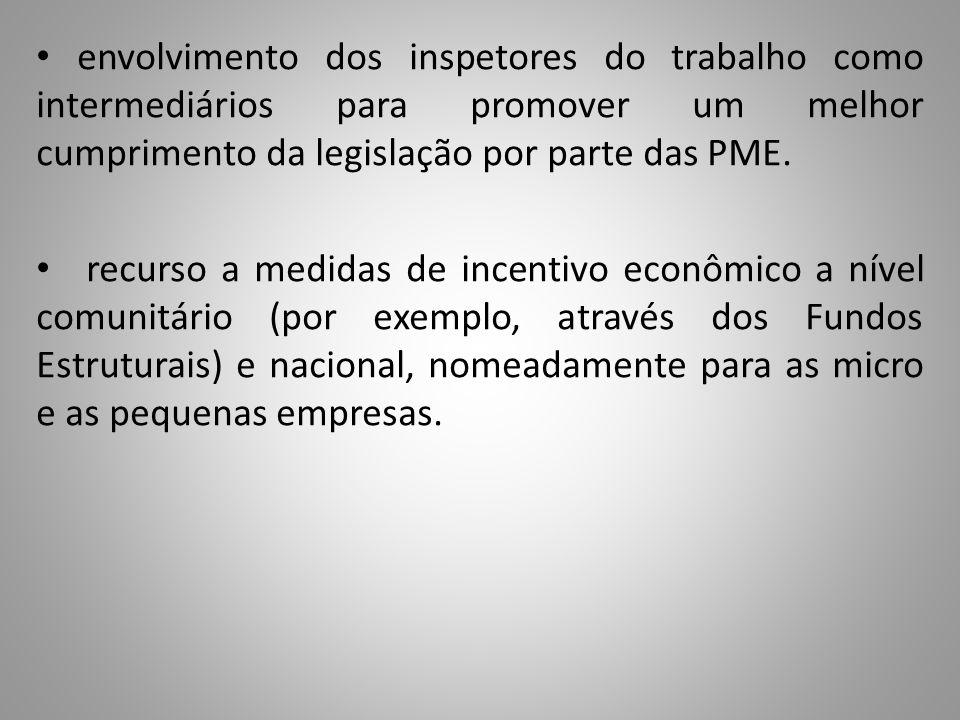 envolvimento dos inspetores do trabalho como intermediários para promover um melhor cumprimento da legislação por parte das PME.