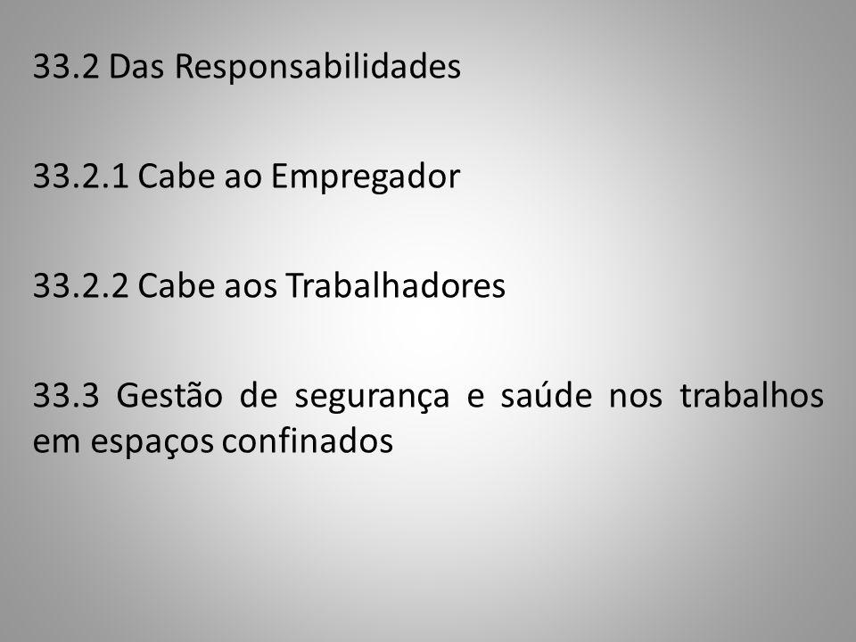 33. 2 Das Responsabilidades 33. 2. 1 Cabe ao Empregador 33. 2